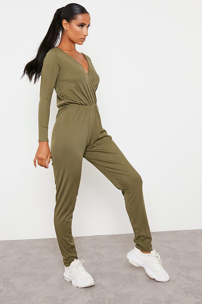 Khaki Ribbed Wrap Front Wide Leg Jumpsuit view 3