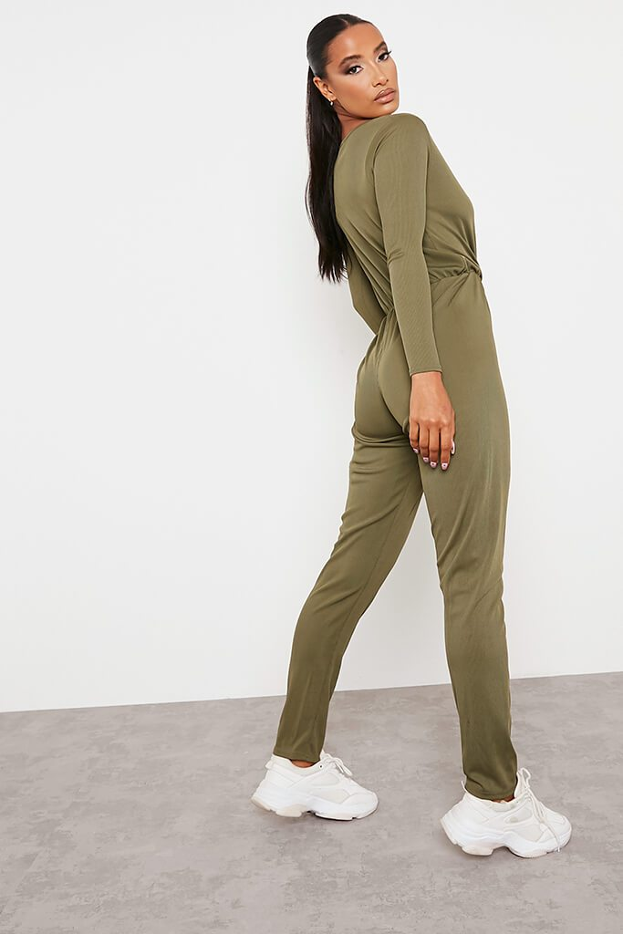 Khaki Ribbed Wrap Front Wide Leg Jumpsuit view 4