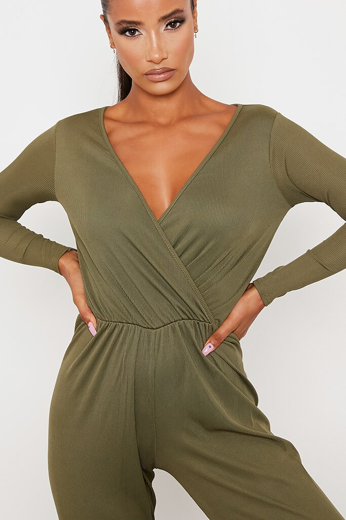 Khaki Ribbed Wrap Front Wide Leg Jumpsuit view 5