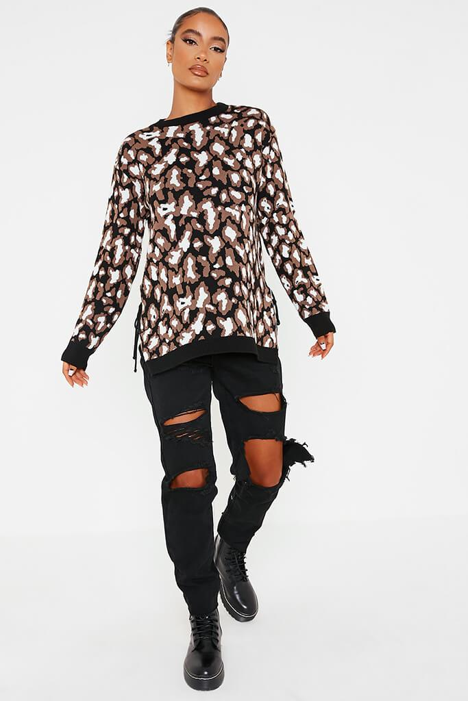 Black & White Leopard Print Long Line Jumper With Tie Side Detail view 2