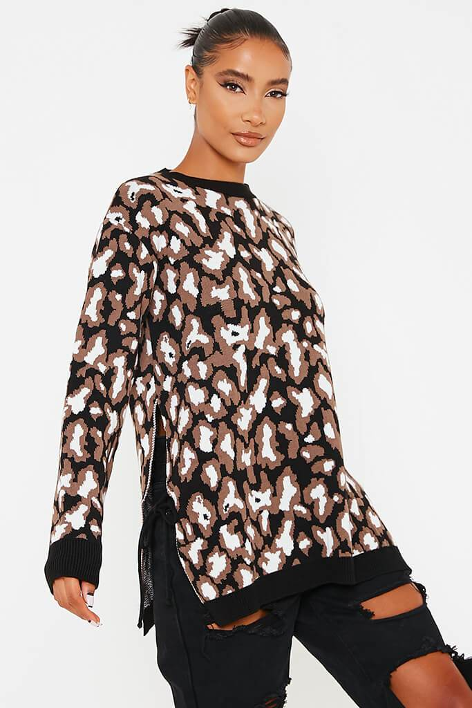 Black & White Leopard Print Long Line Jumper With Tie Side Detail