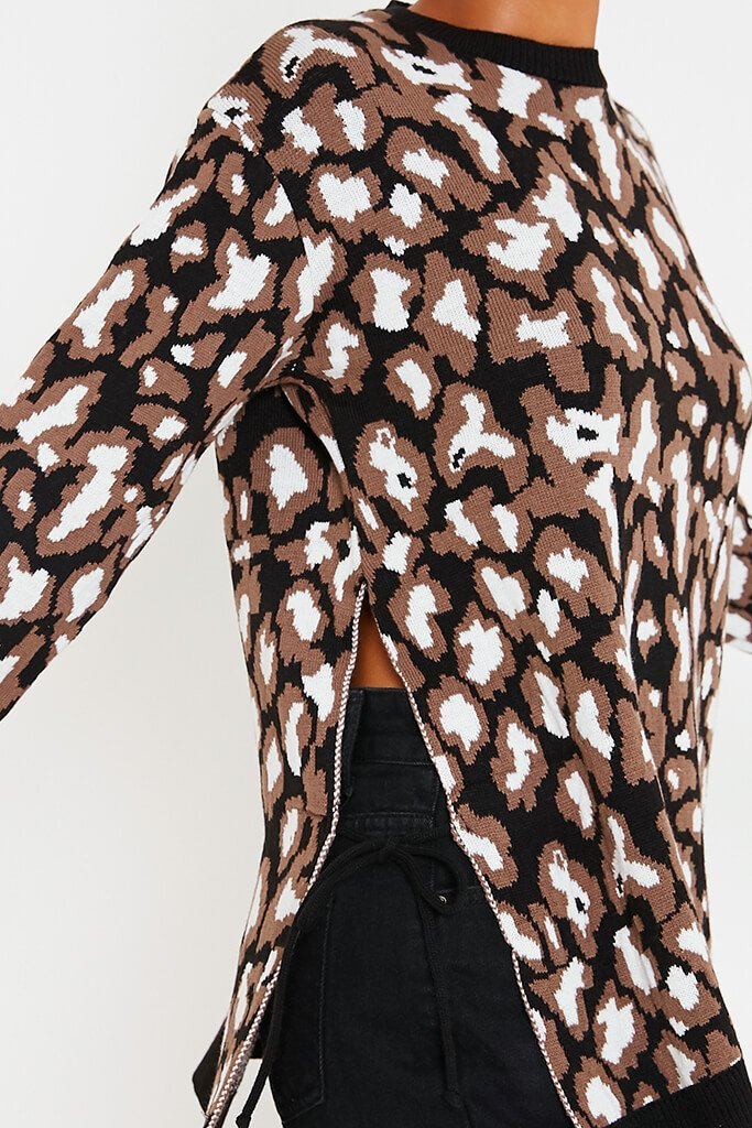 Black & White Leopard Print Long Line Jumper With Tie Side Detail view 5