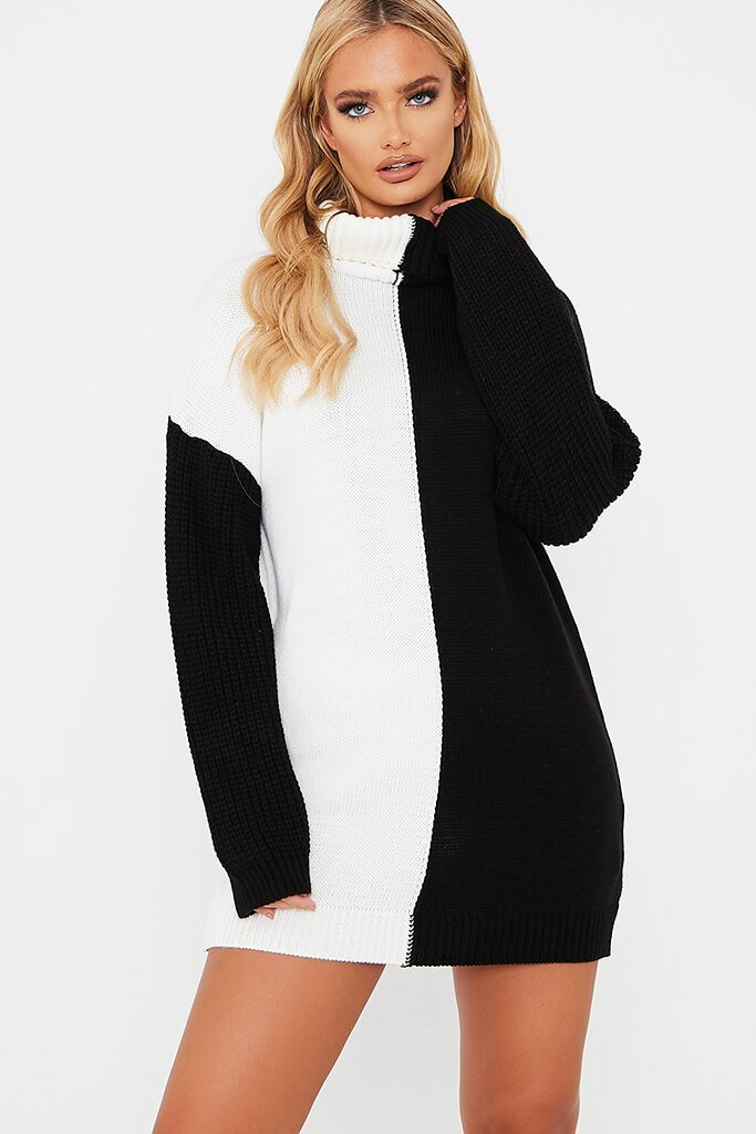 White Half And Half Longline Roll Neck Jumper Dress