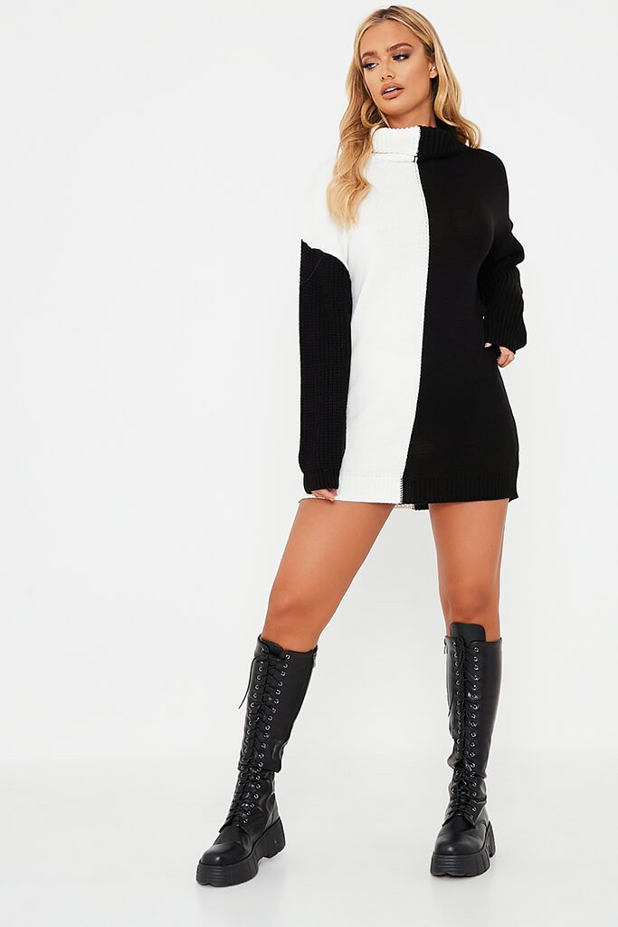 White Half And Half Longline Roll Neck Jumper Dress view 2