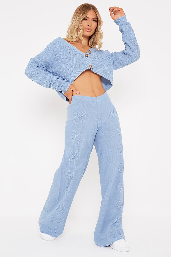 Dusty Blue Diamond Knit Wide Leg Trousers view main view