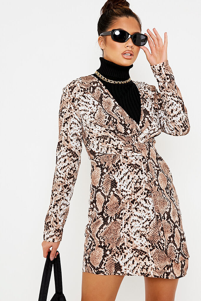 Brown Woven Snake Print Plunge Neck Knot Front Dress view 2