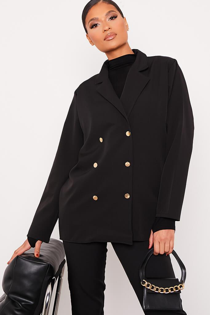 Black Oversized Woven Blazer view main view