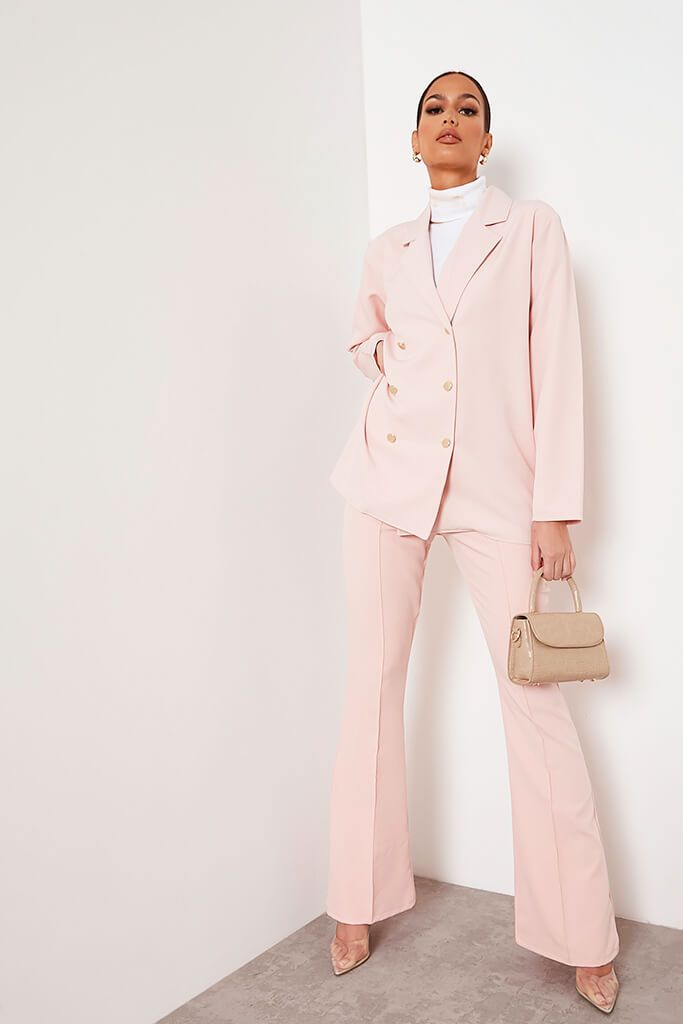 Blush Pink Oversized Woven Blazer view 2