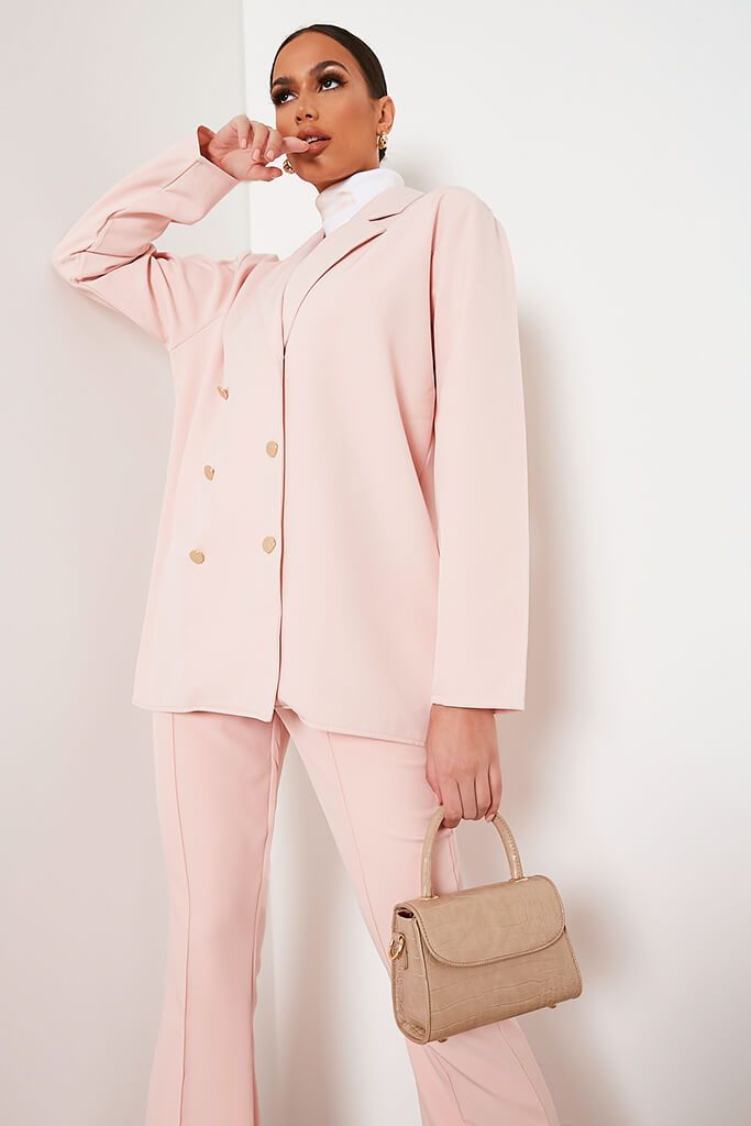 Blush Pink Oversized Woven Blazer view main view
