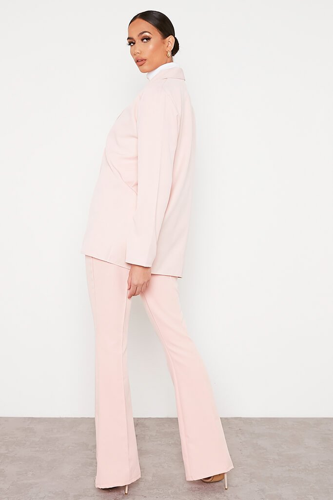 Blush Pink Oversized Woven Blazer view 4