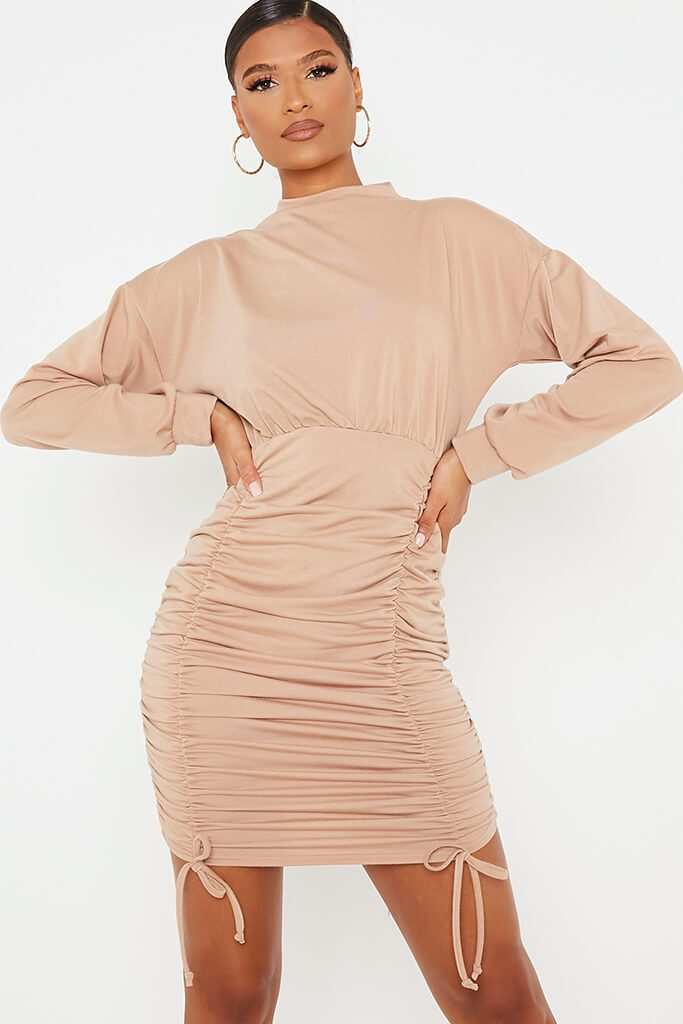 Camel Ruched Bodycon High Neck Sweater Dess