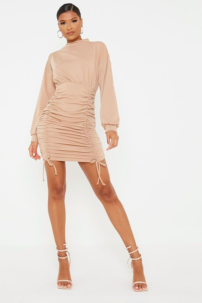 Camel Ruched Bodycon High Neck Sweater Dess view 2