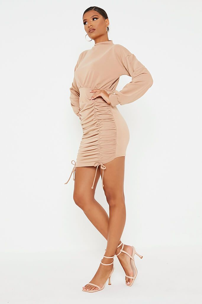 Camel Ruched Bodycon High Neck Sweater Dess view 3