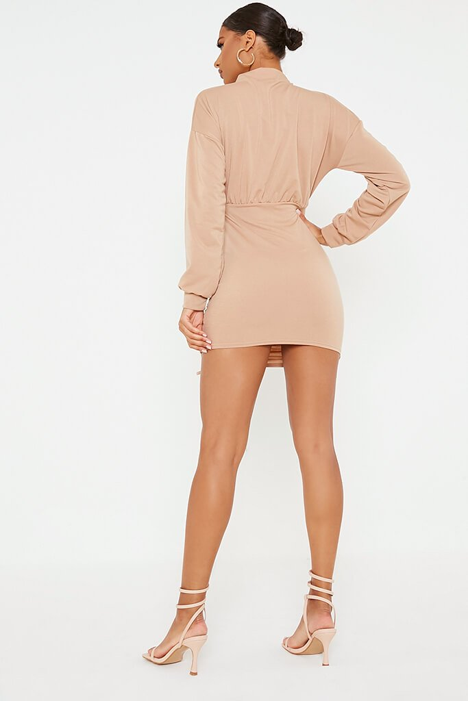 Camel Ruched Bodycon High Neck Sweater Dess view 4