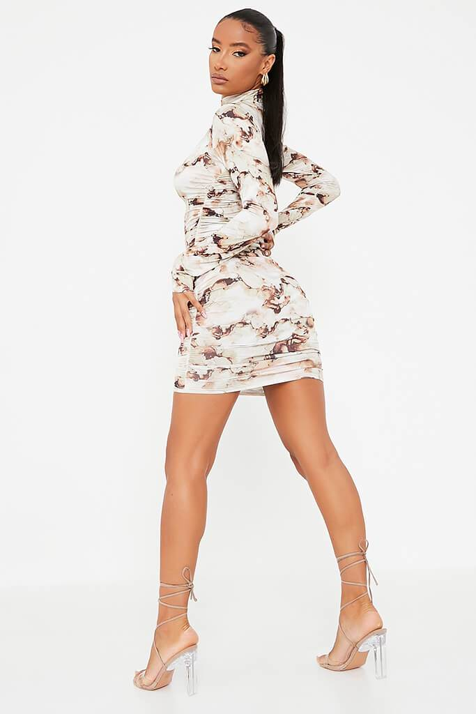 Stone Slinky Marble Print High Neck Ruched Bodycon Dress view 4