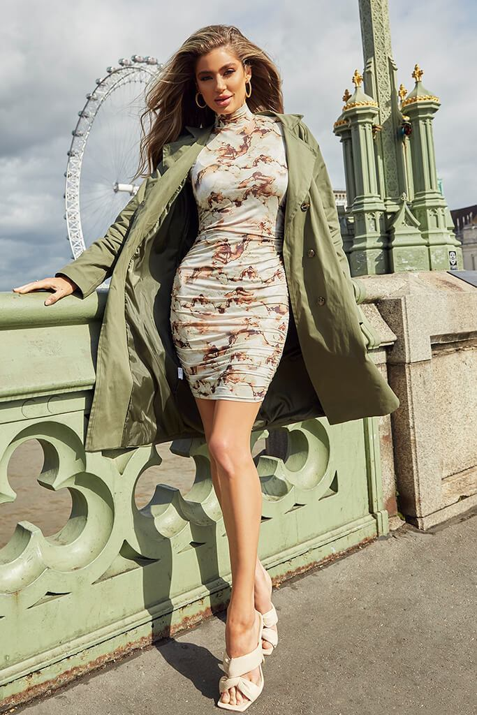 Stone Slinky Marble Print High Neck Ruched Bodycon Dress view 2