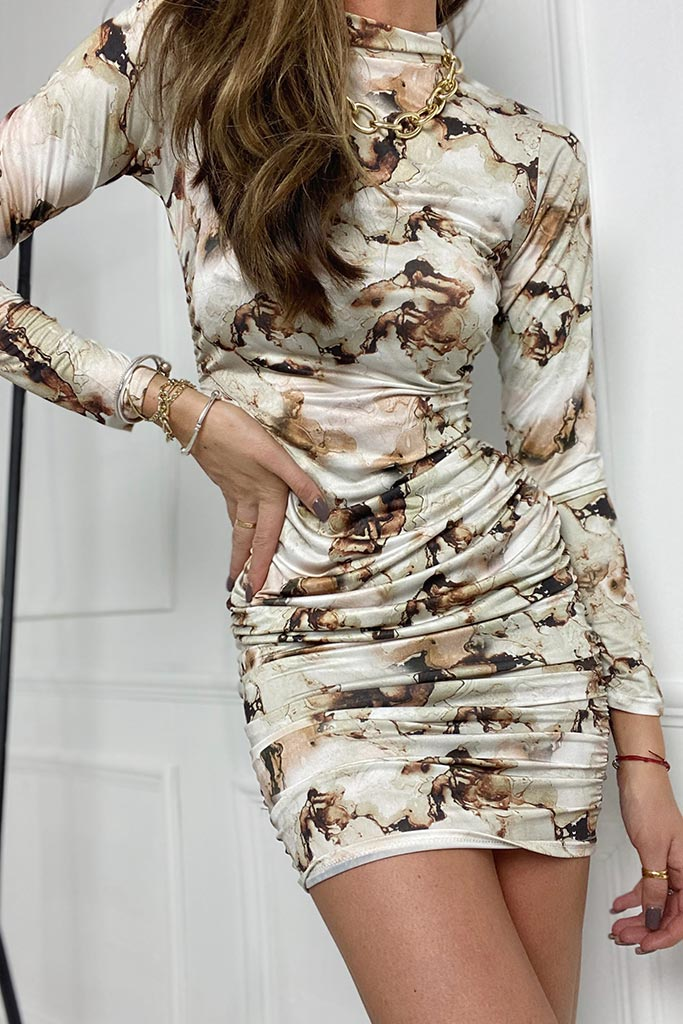 Stone Slinky Marble Print High Neck Ruched Bodycon Dress