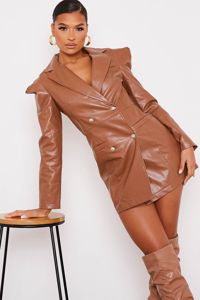 Camel Faux Leather Shoulder Pad Bodycon Dress