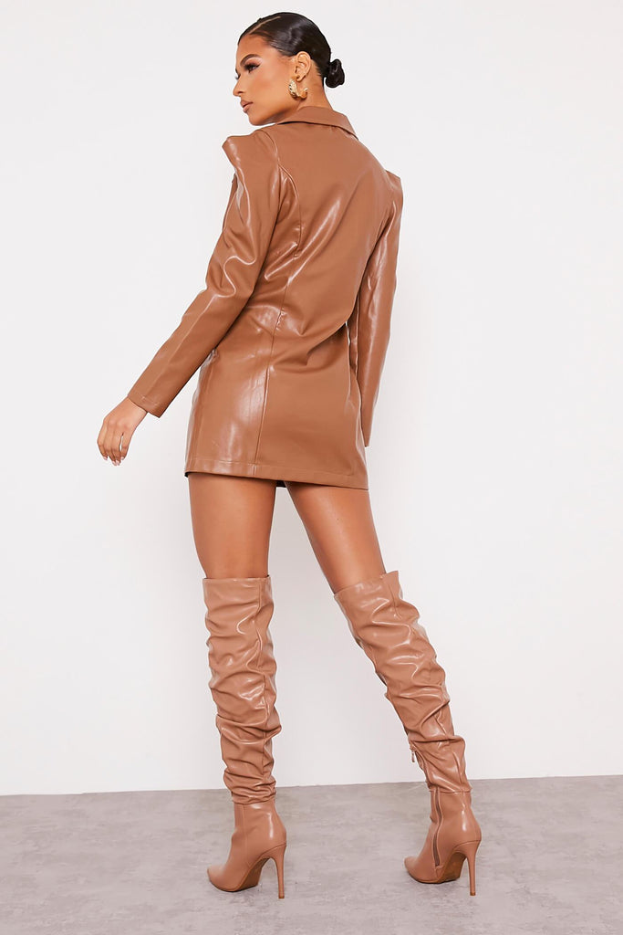 Camel Faux Leather Shoulder Pad Bodycon Dress view 4