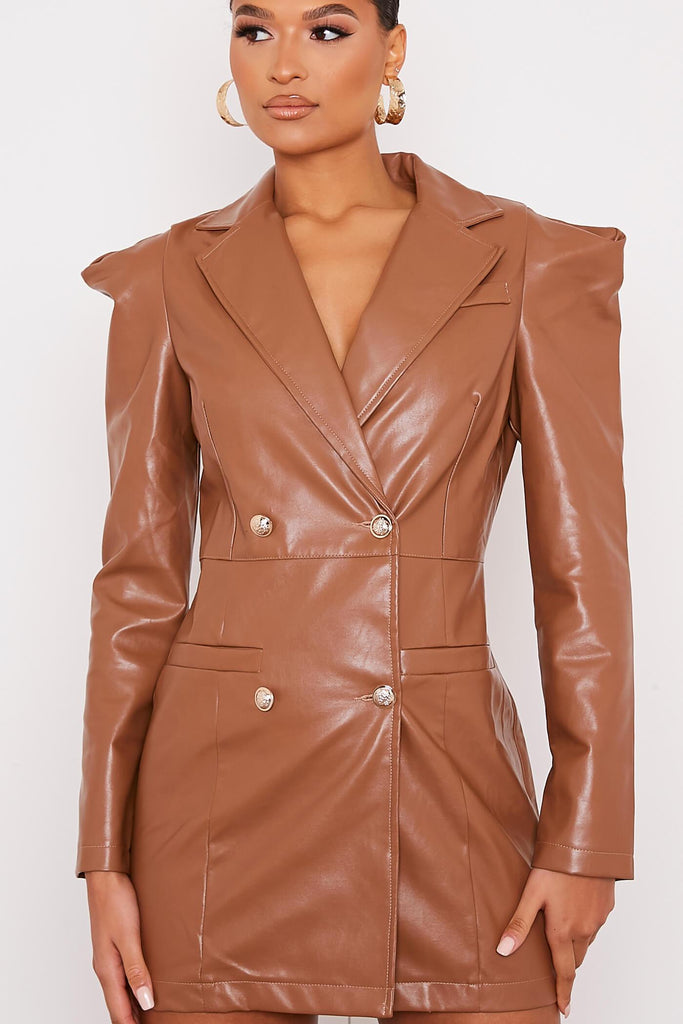 Camel Faux Leather Shoulder Pad Bodycon Dress view 5