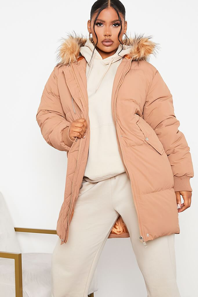 Tan Long Line Padded Parka With Faux Fur Hood