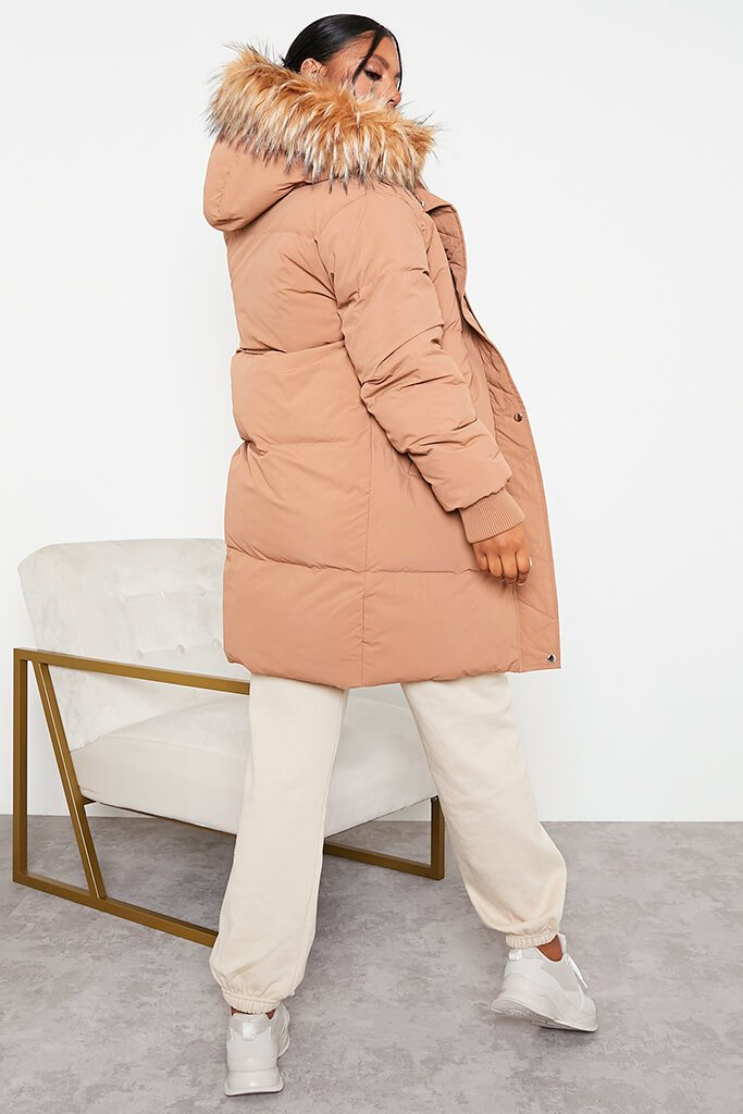 Tan Long Line Padded Parka With Faux Fur Hood view 4