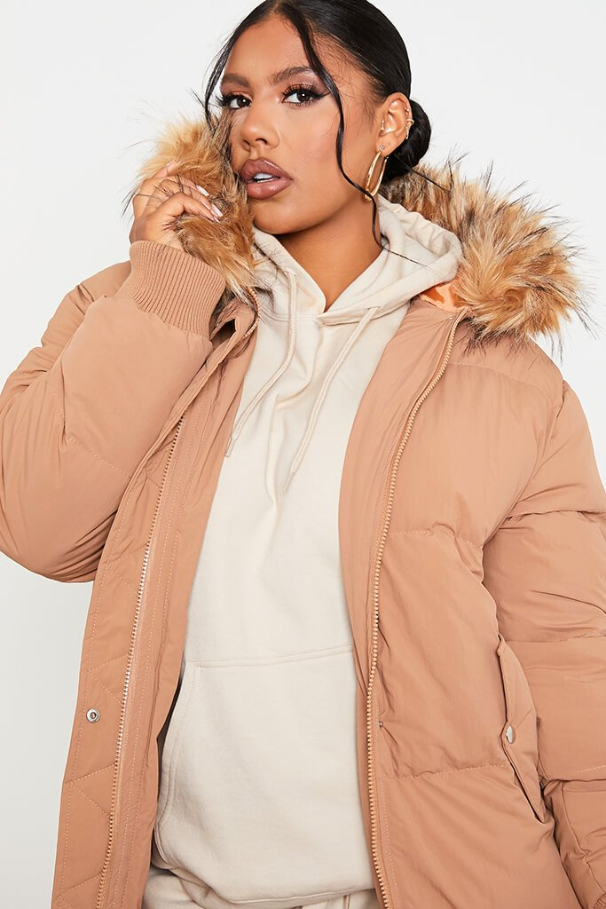 Tan Long Line Padded Parka With Faux Fur Hood view 5