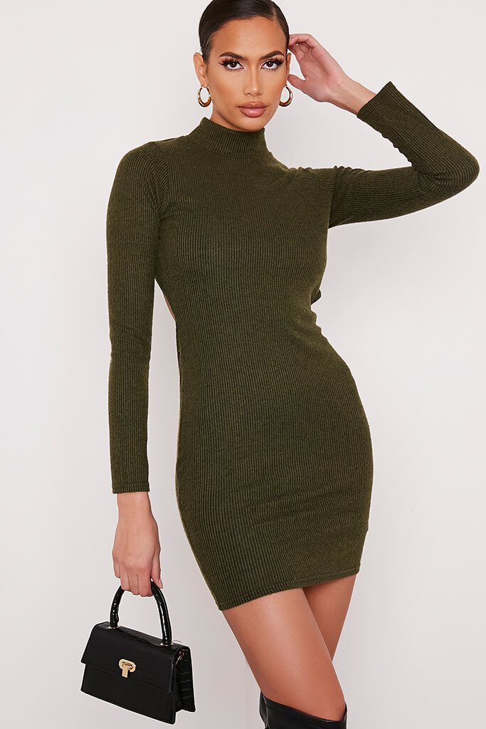 Khaki Brushed Rib High Neck Open Back Bodycon Dress view 2