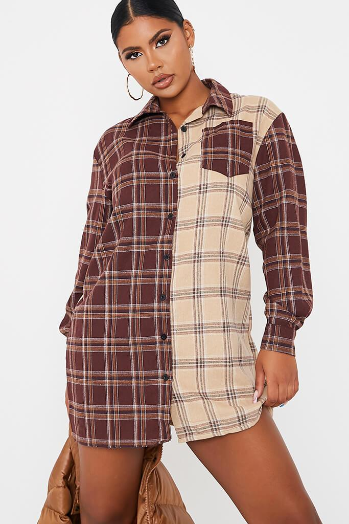 Stone Woven Check Colour Block Shirt Dress view 2