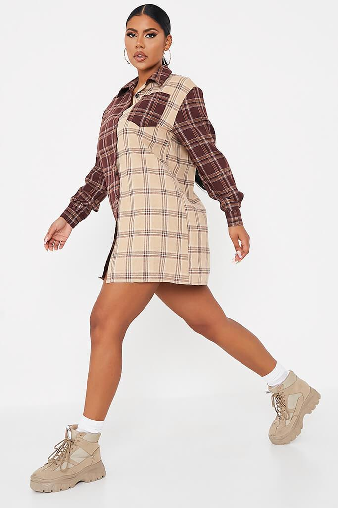 Stone Woven Check Colour Block Shirt Dress view 3