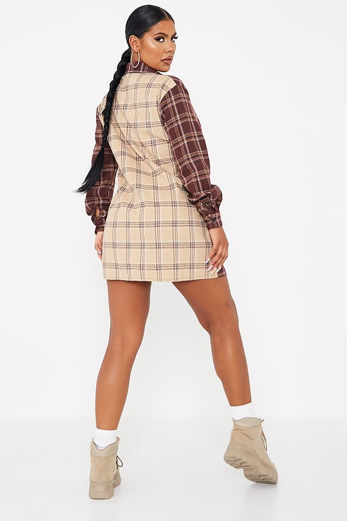 Stone Woven Check Colour Block Shirt Dress view 4