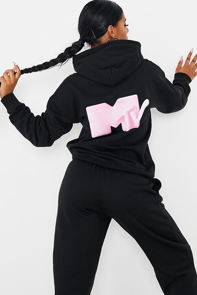 Black Mtv Back Print Oversized Hoodie view 2