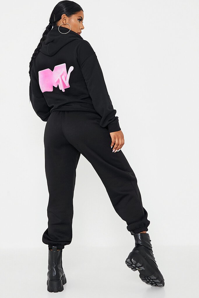 Black Mtv Back Print Oversized Hoodie view 4