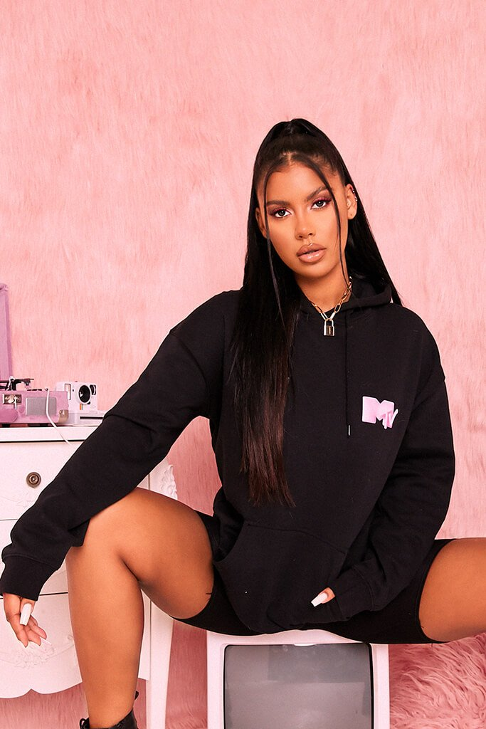 Black Mtv Back Print Oversized Hoodie view main view