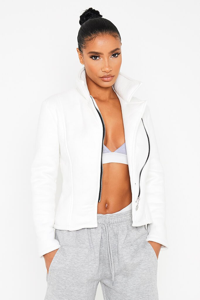 Ivory Faux Suede Fitted Aviator Jacket