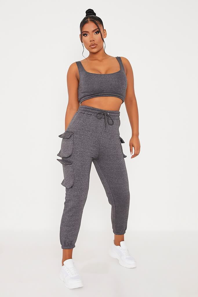 Charcoal Crop Top And Cargo Jogger Set view 2