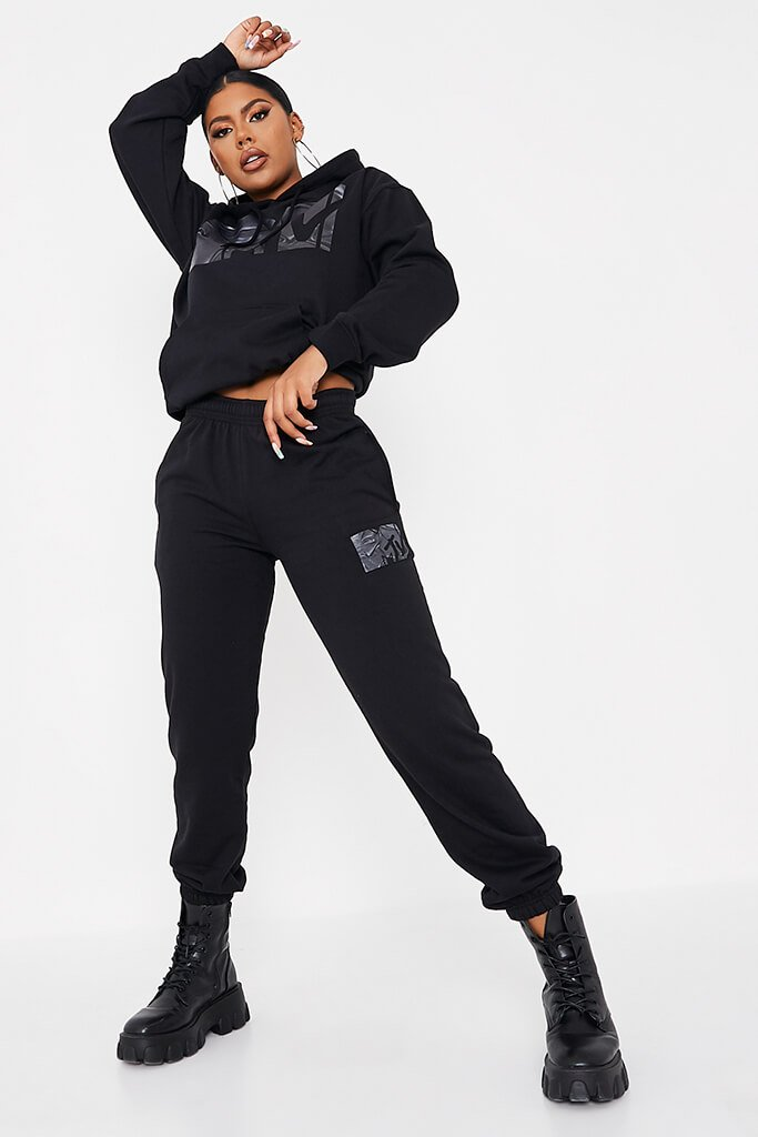Black Mtv Waved Graphic Oversized Joggers