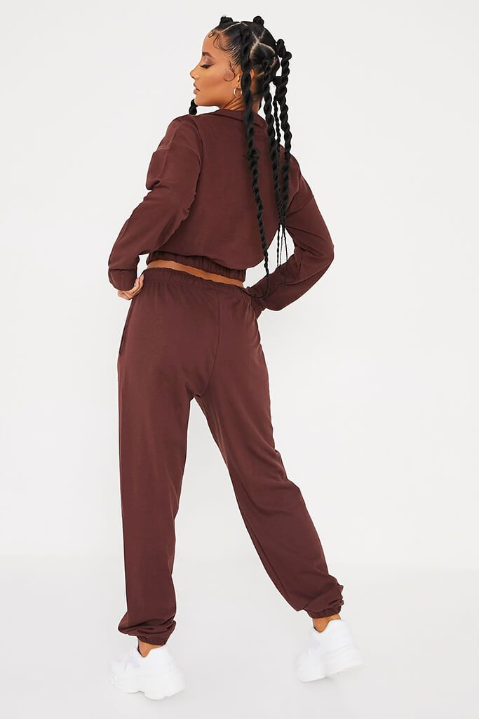 Chocolate Half Zip Jumper And Joggers Set view 4