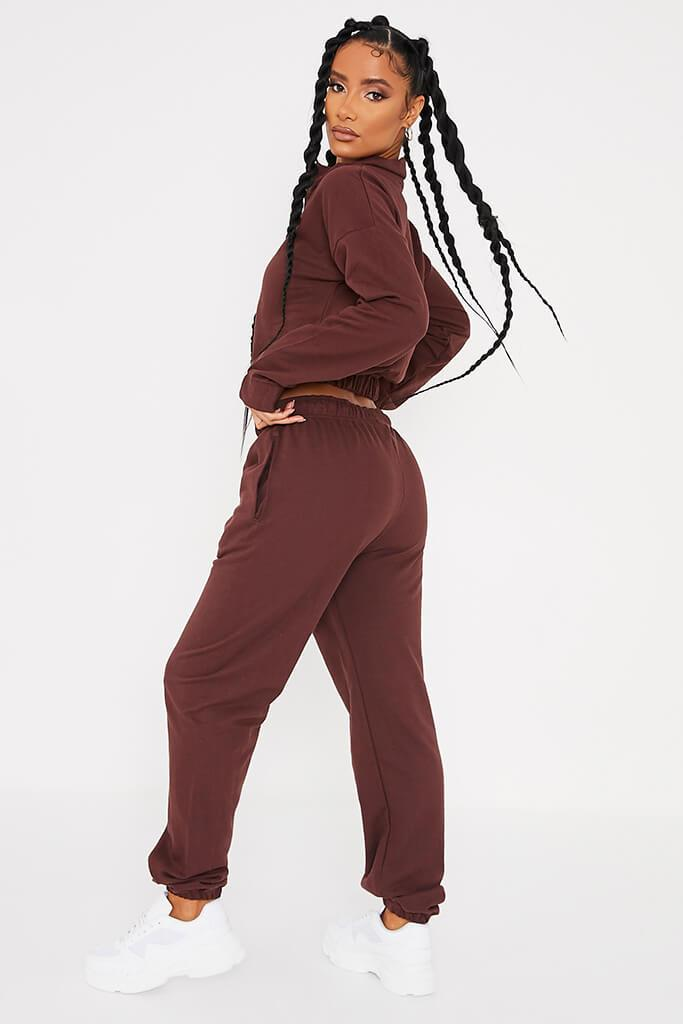 Chocolate Half Zip Jumper And Joggers Set view 3