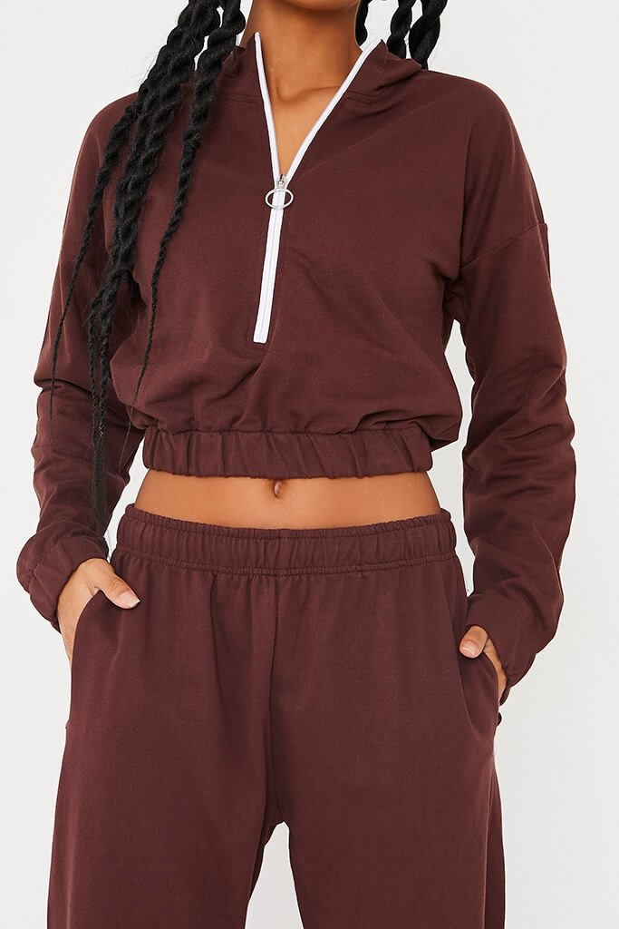 Chocolate Half Zip Jumper And Joggers Set view 5