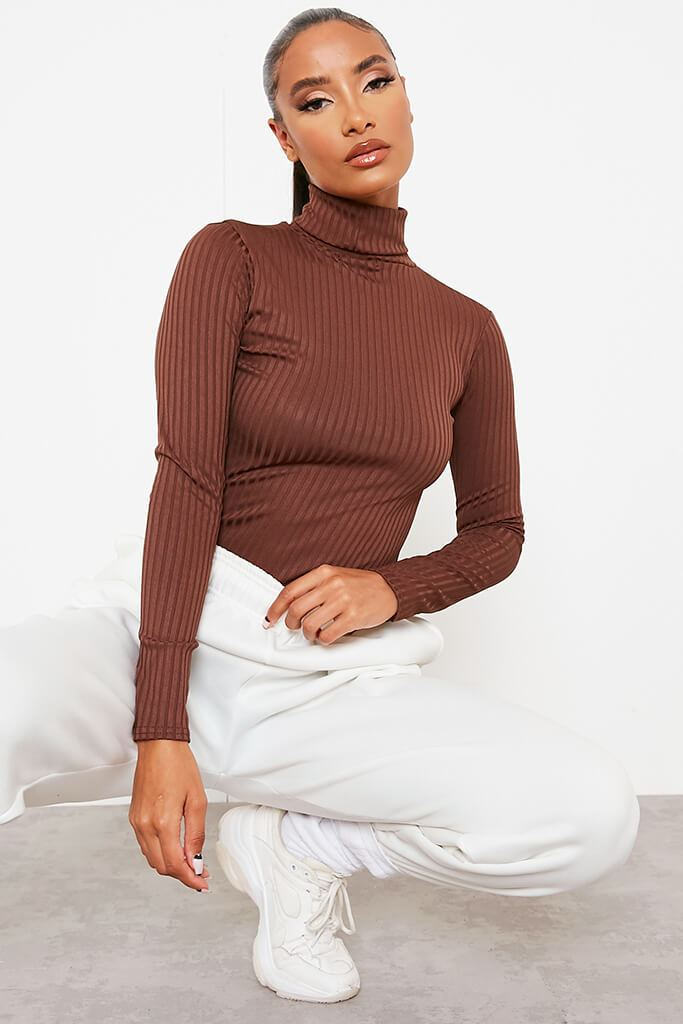 Chocolate Roll Neck Long Sleeve Jumbo Ribbed Top view main view