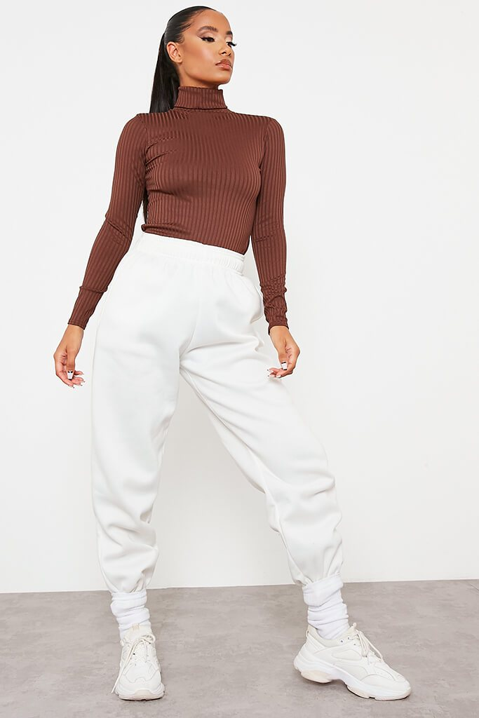 Chocolate Roll Neck Long Sleeve Jumbo Ribbed Top view 2