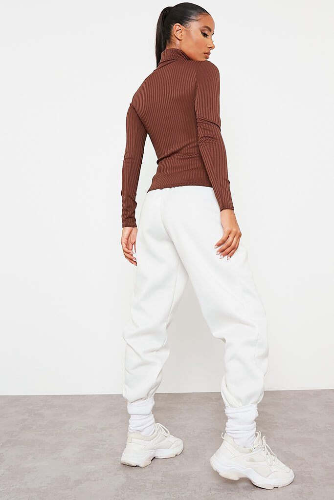Chocolate Roll Neck Long Sleeve Jumbo Ribbed Top view 4
