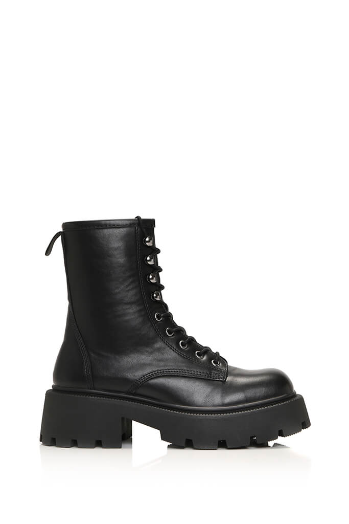 Black Chunky Lace Up Ankle Boots view 4