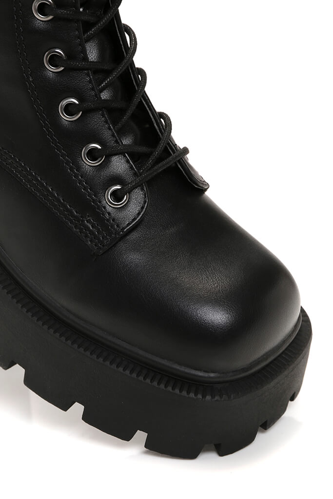 Black Chunky Lace Up Ankle Boots view 5