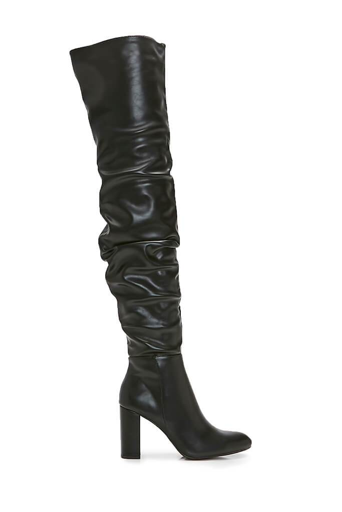 Black Faux Leather Chunky Heeled Over The Knee Boots view 2