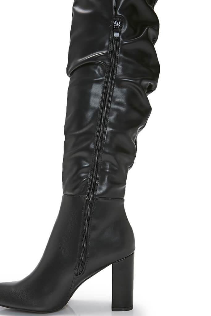 Black Faux Leather Chunky Heeled Over The Knee Boots view 3