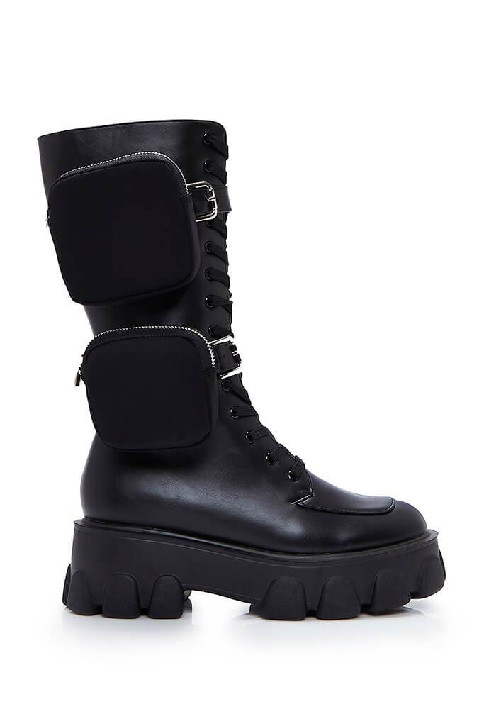Black Double Pouch Chunky Ankle Boots