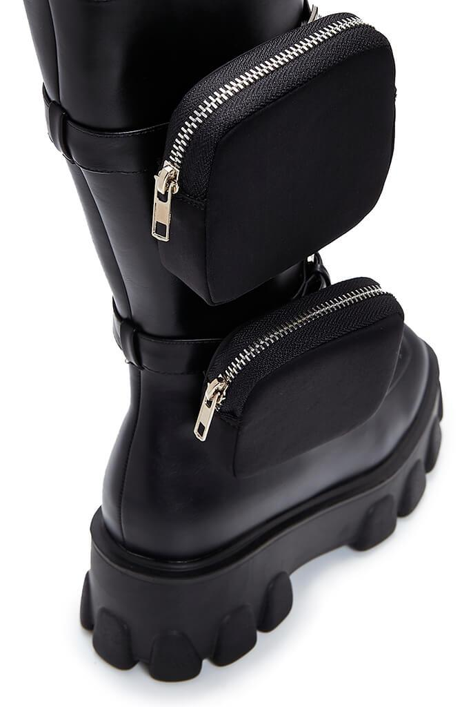 Black Double Pouch Chunky Ankle Boots view 4