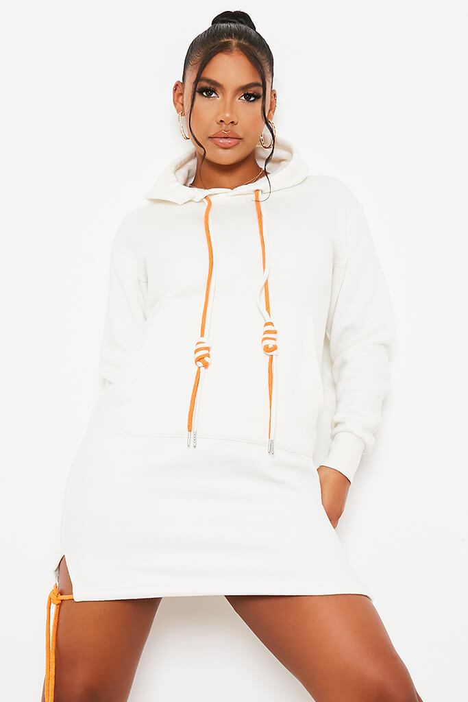 Off White Rope Detail Hooded Dress